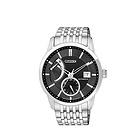 西铁城Citizen机械男表 黑色圆形表盘 银色不锈钢表带手表NB3000-56E