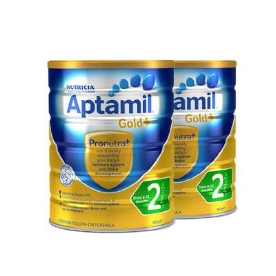 2罐装 澳洲爱他美金装 爱他美Aptamil 金装婴儿配方奶粉2段 6-12个月900g/罐