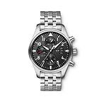 瑞士万国飞行员系列IW377704男表 黑色表盘银色精钢表带多功能男士腕表