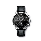 瑞士万国葡萄牙系列IW371447男表 黑色表盘皮质表带计时盘男士腕表