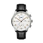 瑞士万国葡萄牙系列IW371445男表 银白表盘皮质表带计时盘男士腕表