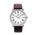 瑞士天梭Tissot T0334101601301 天梭经典白色表盘皮革表带男表 商务休闲男士手表