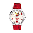 瑞士天梭Tissot 爱心镂空女款机械腕表 红色皮质表带女表T0502071611602
