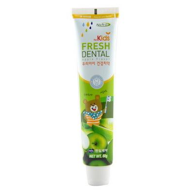 韩国原装进口丽齿乐Niche儿童牙膏(苹果味)50g/支 清新口气防蛀牙