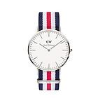 DW0202蓝白红条纹尼龙表带银色石英男表 运动休闲丹尼尔惠灵顿Daniel Wellington男士腕表