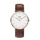 瑞典0106DW经典绅士系列棕色真皮表带石英男表 Daniel Wellington丹尼尔惠灵顿时尚干练男士腕表