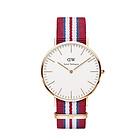 丹尼尔惠灵顿Daniel Wellington DW0212尼龙条纹表带银色石英男表 经典绅士系列男士腕表