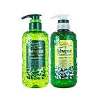 一洗一护 日本Reveur 无硅油洗发水+护发素套装 绿色烫染修护 低泡洗护套装 500ml/瓶*2