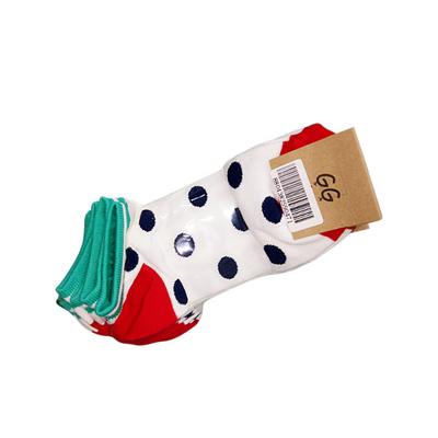 特卖 五双 韩国女士彩色短袜 圆点彩色棉质运动短袜 袜子