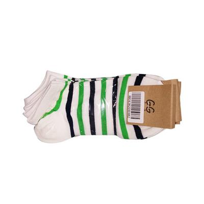 特卖五双装  韩国GG 女士彩色条纹棉质白色黑色短袜 袜子