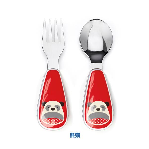 美国skip hop 卡通动物图案勺叉餐具 不锈钢勺子叉子可爱动物园系列