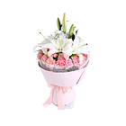 鲜花/爱的祝福 2支白色多头香水百合+19朵粉色康乃馨+黄莺
