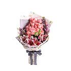 鲜花/甜蜜物语 33朵戴安娜粉玫瑰+3支粉色香水百合+粉色勿忘我