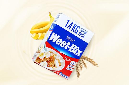 澳洲Weet-bix麦片 新康利维他麦全谷物麦片 欢乐颂安迪麦片 低卡即食 代餐零食 1.4KG/盒(保质期到17年9月份)