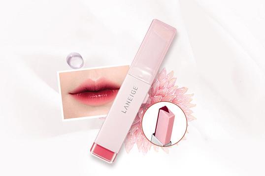 兰芝Laneige双色炫彩立体唇膏8# 唇釉+润唇膏的黄金比例V型切割 双色渐变效果