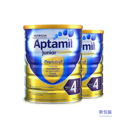2罐装 澳洲爱他美金装 爱他美Aptamil 金装婴儿配方奶粉4段 900g/罐2周岁以上