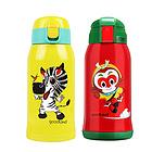 日本熊本士儿童保温杯带吸管两用双盖水杯 宝宝不锈钢防漏水杯 两种款式可选
