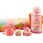 日本熊本士儿童保温杯带吸管两用水壶宝宝 316三盖儿童杯粉猪小妹 620ML