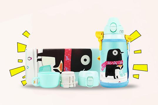 日本KUMAMOT熊本士儿童保温杯620ml 一杯三盖保温保冷 升级316内胆 4款任选