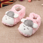 中国李小熊 秋冬新款宝宝学步鞋 婴儿短毛绒软底家居鞋子 小羊款 不掉鞋新生保暖 粉羊