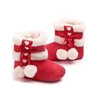 中国李小熊 秋冬婴儿鞋子加厚宝宝棉鞋 保暖鞋软底学步鞋 防滑棉靴大红色