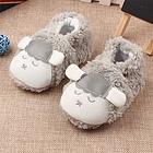 中国李小熊 秋冬新款宝宝学步鞋 婴儿短毛绒软底家居鞋子 小羊款 不掉鞋新生保暖 灰羊