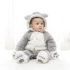 中国李小熊 宝宝衣服茶米猫哈衣连体衣 加绒加厚保暖外出爬服 灰色