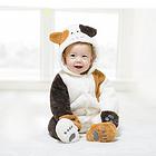 中国李小熊 宝宝衣服茶米猫哈衣连体衣 加绒加厚保暖外出爬服 白色