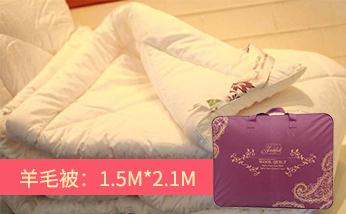JADEFULL 家多芬单人羊毛被1.5m*2.1m 含毛量500g/m²条格及高织羊标