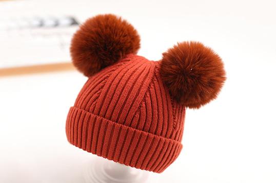 一般贸易荚贝 超大双球宝宝针织帽 保暖防护