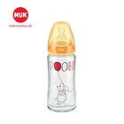 德国NUK迪士尼宽口耐高温玻璃彩色奶瓶240ml(带1号硅胶宽口仿真通气奶嘴)