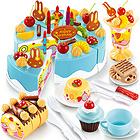 中国贝比谷会唱歌的生日蛋糕切切乐过家家玩具75件套 6662C蓝色款