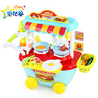 中国贝比谷迷你快餐车厨房/小推车做饭玩具34件套装 888-9蓝色款